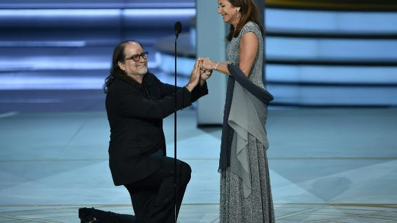 Glenn Weiss (L), winner of the Outstanding Directing for a Variety Special award for