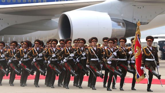 North Korean honor guards march during a welcoming ceremony for Moon in Pyongyang on September 18.