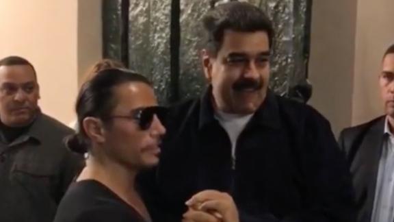 "Venezuelan President Nicolas Maduro spotted with Turkish celebrity chef Nusret Gökçe, known as ""Salt Bae,"" at one of his Istanbul restaurants."