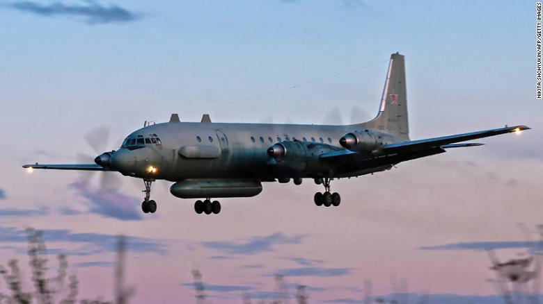 A photo taken on July 23, 2006 shows a Russian IL-20M plane landing at an unknown location. Russia has blamed Israel for the loss of a military IL-20M jet Monday.