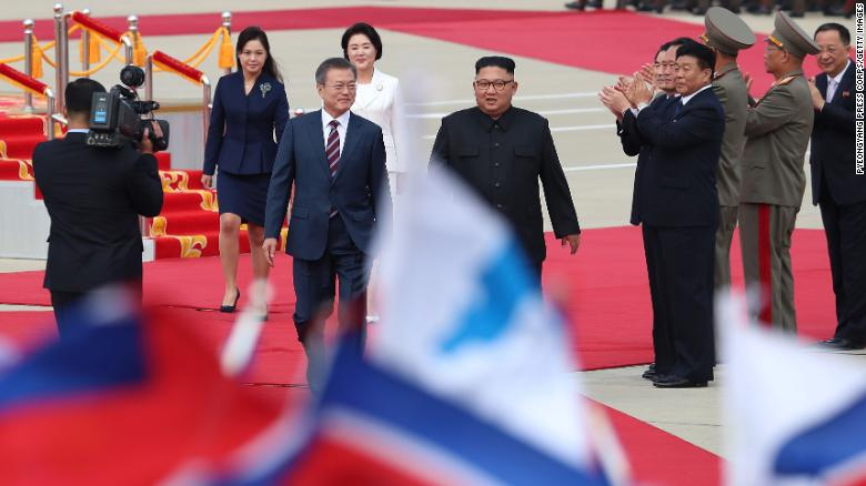 South Korean President Moon Jae-in and North Korean leader Kim Jong Un as they meet in Pyongyang, North Korea, Tuesday, September 18, 2018.