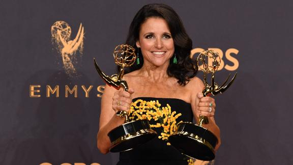 Julia Louis-Dreyfus, seen here posing her 2017 Emmy haul, has a chance to bring in a very important win in 2019.