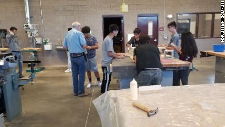 Gino Perez's wood and metal shop class at Valley High School in Albuquerque, New Mexico.