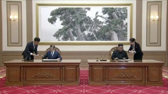 South Korean President Moon Jae-in and North Korean leader Kim Jong Un at the Paekhwawon State Guesthouse in Pyongyang, North Korea, in this still frame taken from video taken Wednesday, September 19.