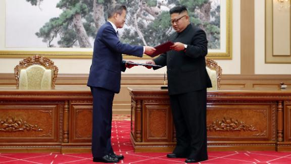 """The era of no war has started,"" said Moon, the first South Korean president to visit Pyongyang since 2007. ""Today the North and South decided to remove all threats that can cause war from the entire Korean peninsula."""