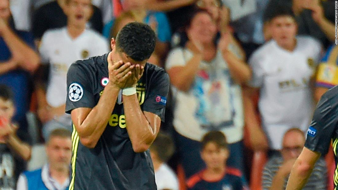 Cristiano Ronaldo is left in tears after getting a red card in his Champions League debut for Juventus in the Mestalla stadium in Valencia.