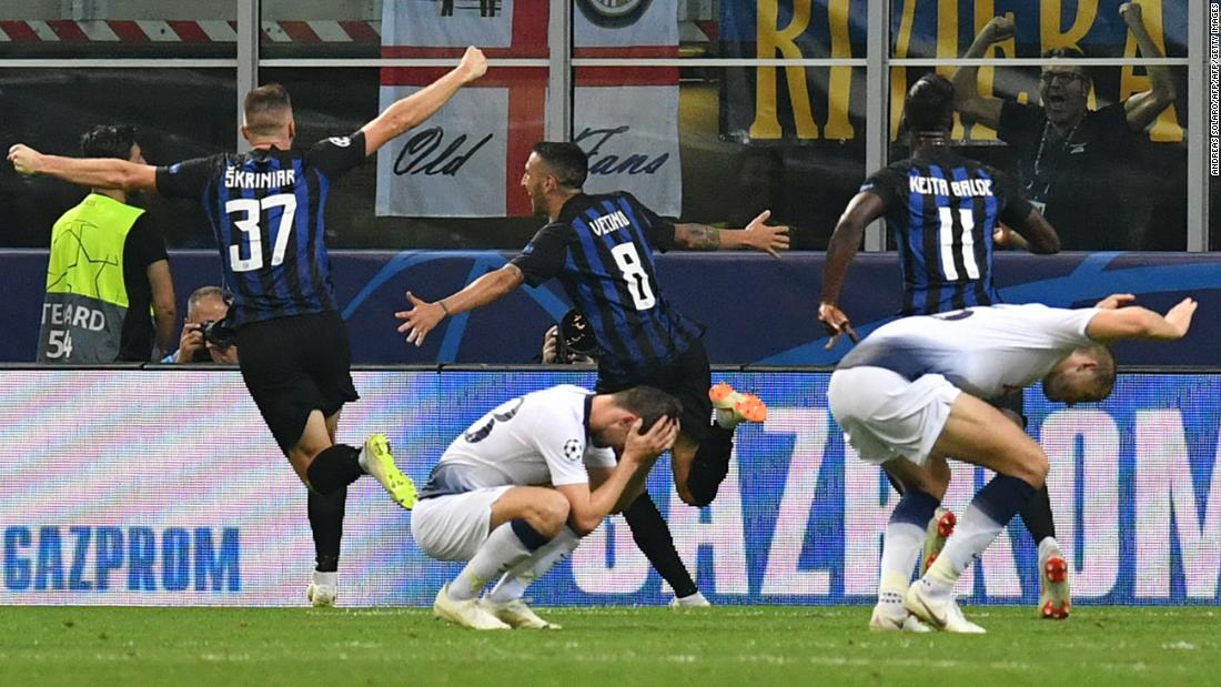 Inter Milan scored two late goals to stun Tottenham Hotspur 2-1 in their return to the Champions League after a seven-year absence.  The visitors seemed to be cruising to three points until punished by goals from Mauro Icardi and Matias Vecino.