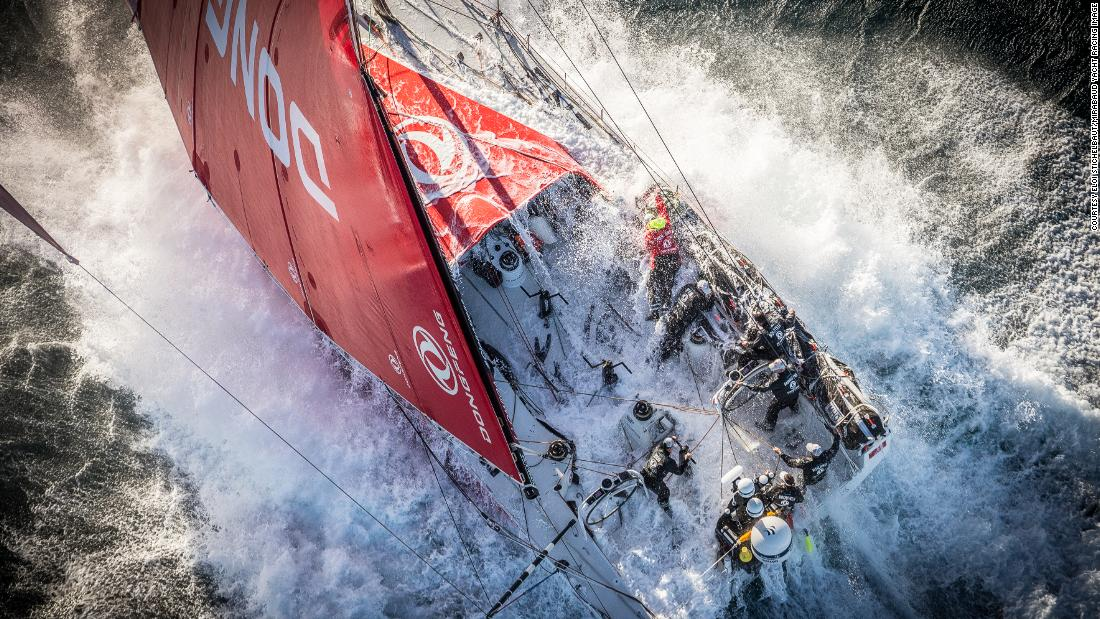 During the Volvo Ocean Race, Eloi Stichelbaut photographed the Dongfeng Race Team near Lisbon, just after their boat had been hit by a massive wave in 30 knots of wind. Stichelbaut's photograph won the Yacht Racing Forum award for 2018.