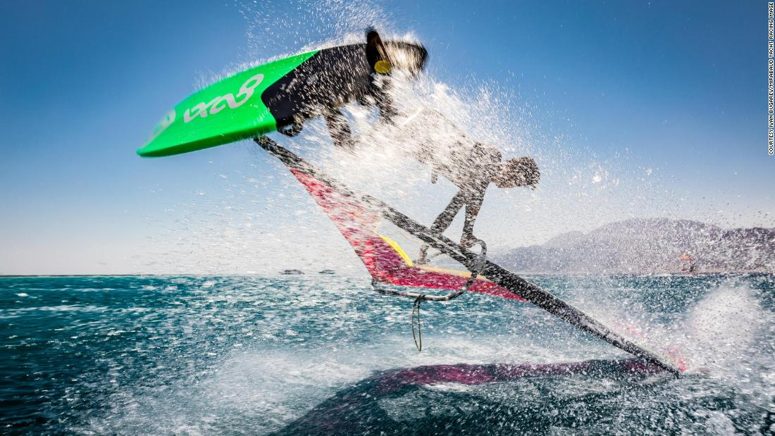 Off the shore of Egypt, Ivan Bugarev snapped a windsurfer mid-jump, during the Winderland Windsurf Challenge.