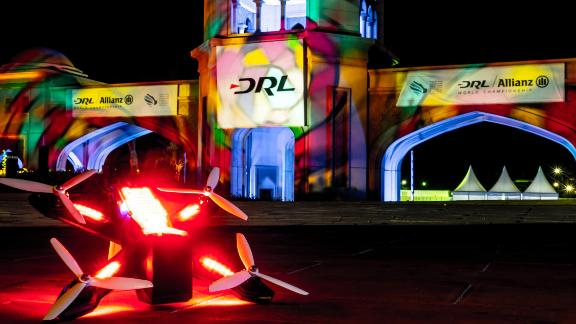 One of the racing drones flown at the grand finale in Saudi Arabia.