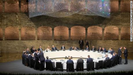 Participants of the EU Informal Summit of Heads of State or Government attend a dinner at the Felsenreitschule in Salzburg, Austria, on September 19, 2018.