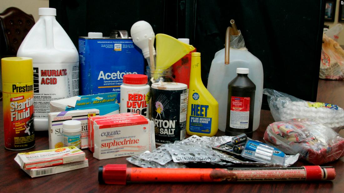 "A display of items used in the ""shake-and-bake"" method of manufacturing methamphetamine is shown in Oklahoma City. The items shown were purchased for display purposes."