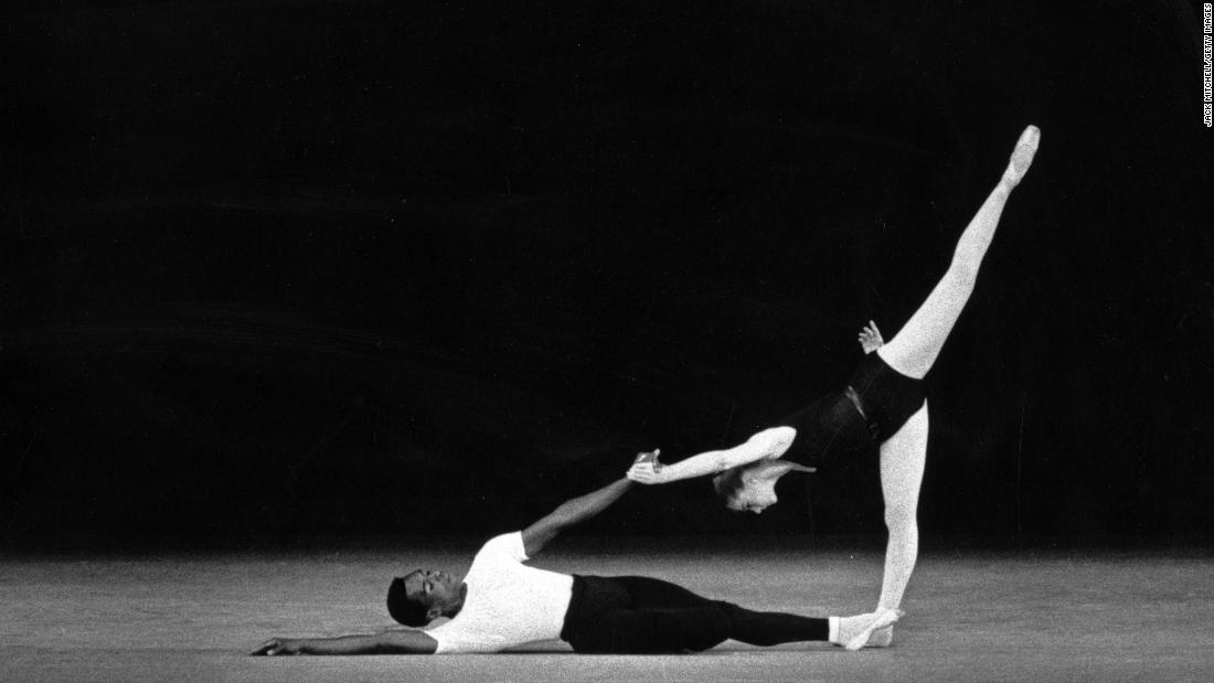 "Mitchell and Suzanne Farrell dance in Balanchine's groundbreaking modernist ballet ""Agon"" in 1963."