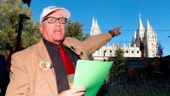 Sam Young speaks Sunday, September 16, in Salt Lake City after reading aloud the church's verdict letter on his excommunication.