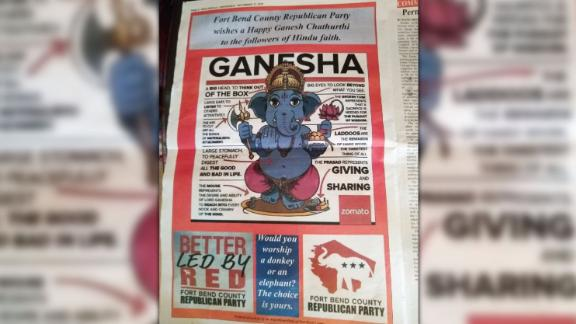 The India Herald, a Texas news outlet, published this ad by the Fort Bend County Republicans.