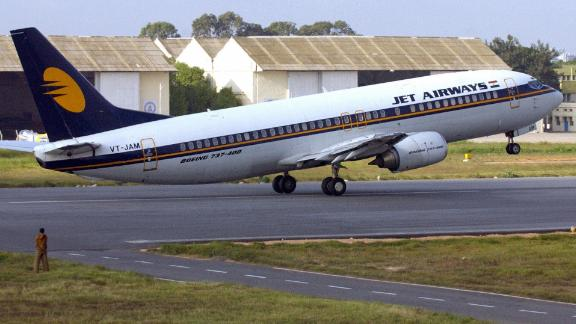 File photo shows a Jet Airways flight taking off at an airport in Bangalore, India.