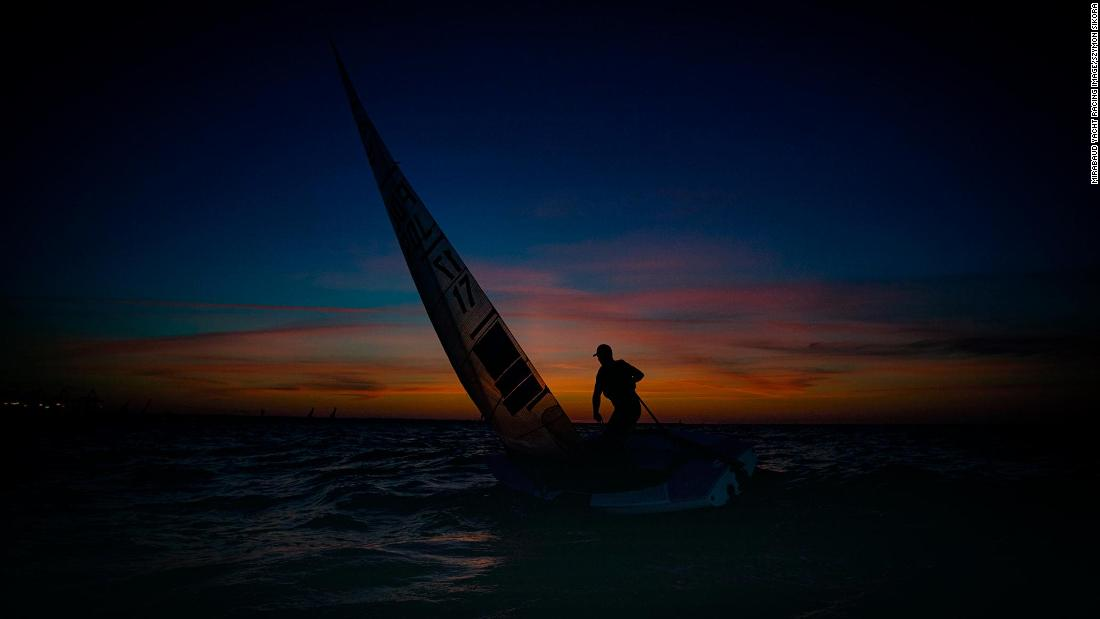 Polish photographer Szymon Sikora captured sailor Piotr Kula training before the Volvo Gydnia Sailing Days in Gdańsk.