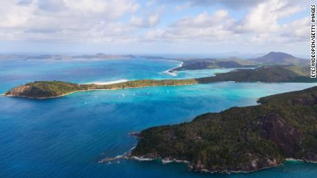 Aerial view of the Whitsunday Islands in northeastern Australia.