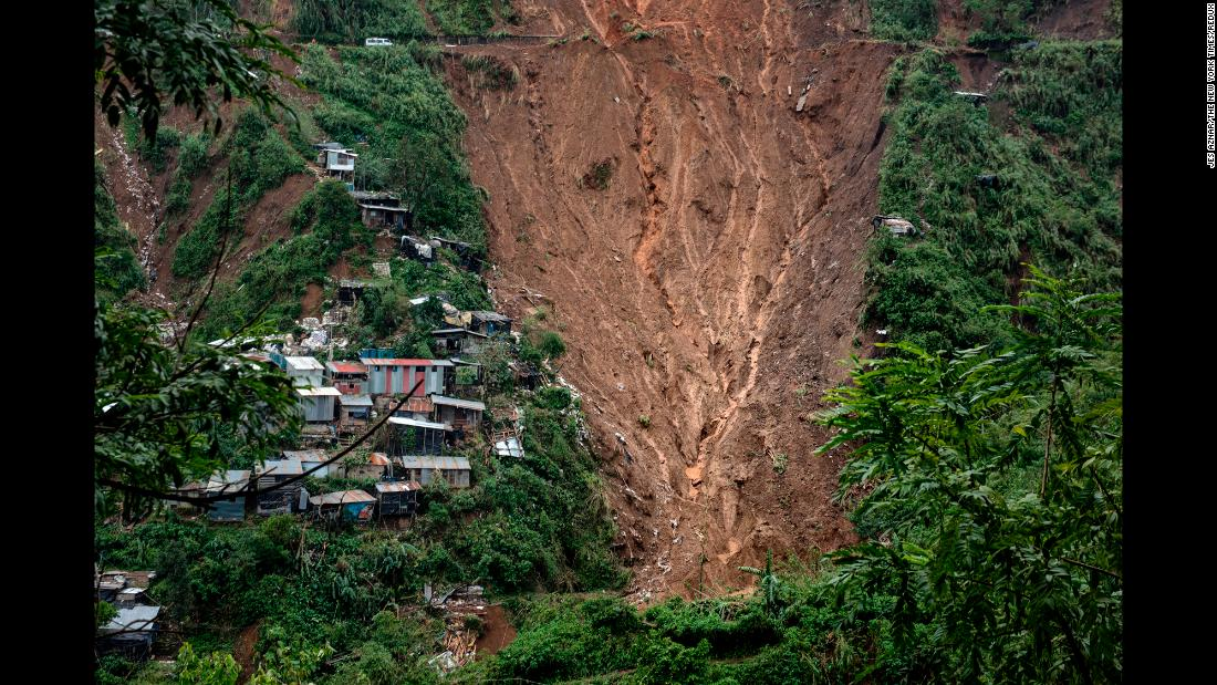 This photo, taken on Monday, September 17, shows a landslide that killed dozens in the mining town of Itogon, Philippines. Typhoon Mangkhut, the world's strongest storm this year, carved a destructive and deadly path from the Philippines into mainland China.