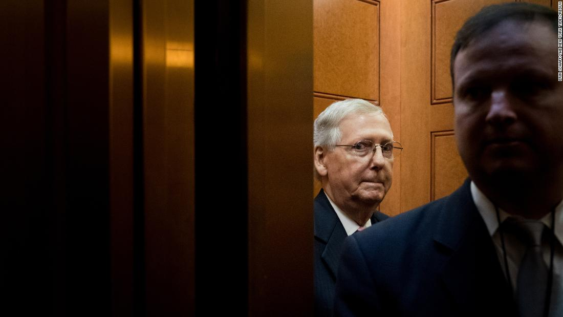 Mitch McConnell, majority leader of the US Senate, takes an elevator while on Capitol Hill on Tuesday, September 18.