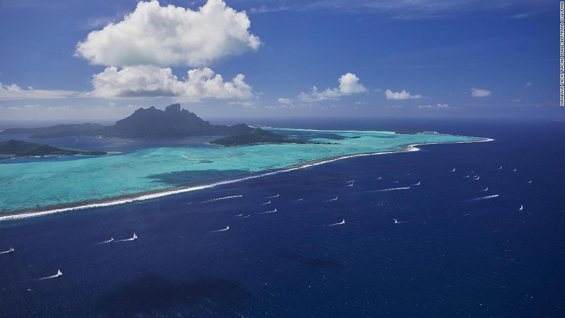 "Bertrand Duquenne took this long shot of the Tahiti Pearl Regatta in Bora-Bora from an airplane. ""When you see these kind of pictures from the window of your day office, you think you're lucky,"" he says."