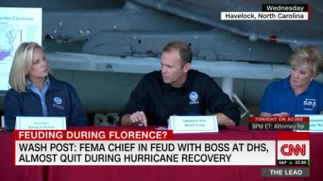 Wash Post: FEMA chief feuding with boss at DHS and almost quit