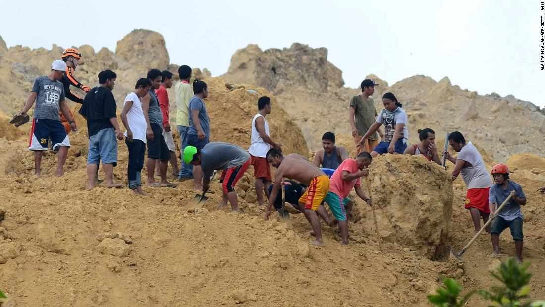 Philippines landslide: 50 people feared missing under rubble