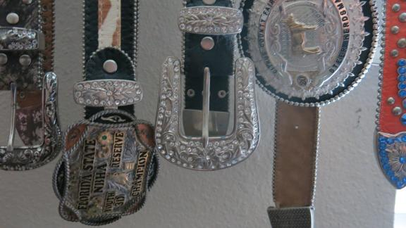 Thomas's room is decked out with horse mementos from her days at the rodeo.