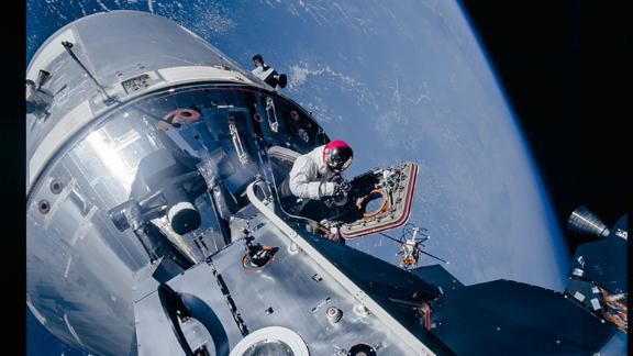 Over 1,400 images were taken during the ninth Apollo mission, shown in the picture.