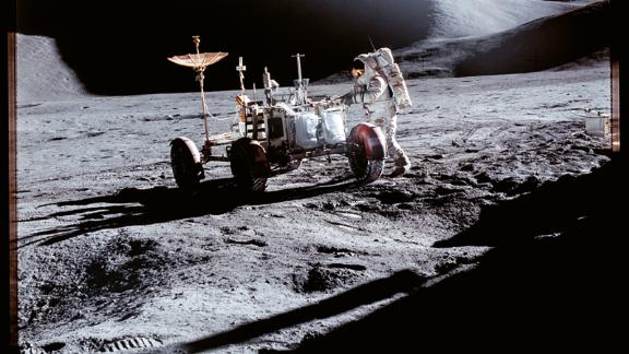 This image, taken during the 15th Apollo mission, shows the lunar surface.