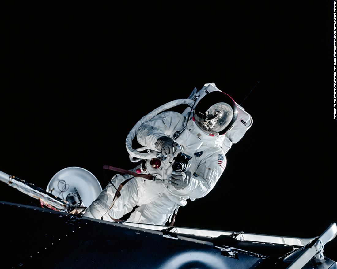 Image shows Lunar Module Pilot Russell Schweickart taking a photograph during his Extravehicular Activity (EVA) testing the new spacesuit during the Apollo 9 mission.