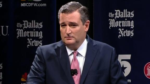 Senator Ted Cruz at a debate in Dallas, Texas.