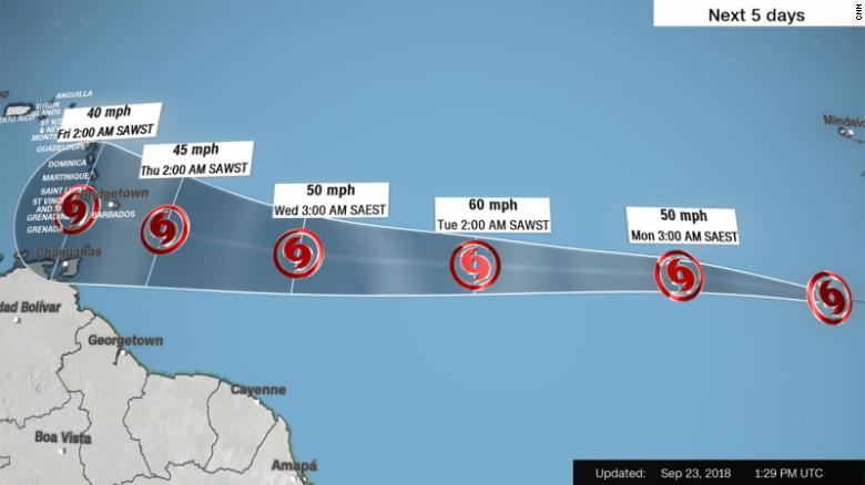 Forecast track for Tropical Storm Kirk.