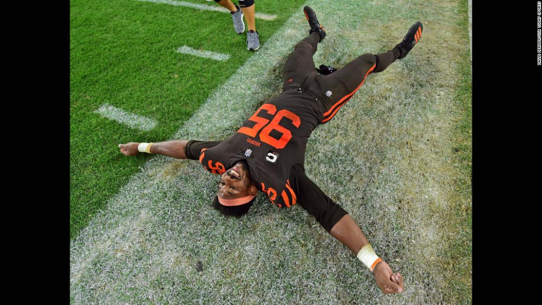 Cleveland Browns defensive end Myles Garrett celebrates after the second half of a game against the New York Jets in Cleveland on Thursday, September 20. The game was the first win for the Browns in nearly two years.