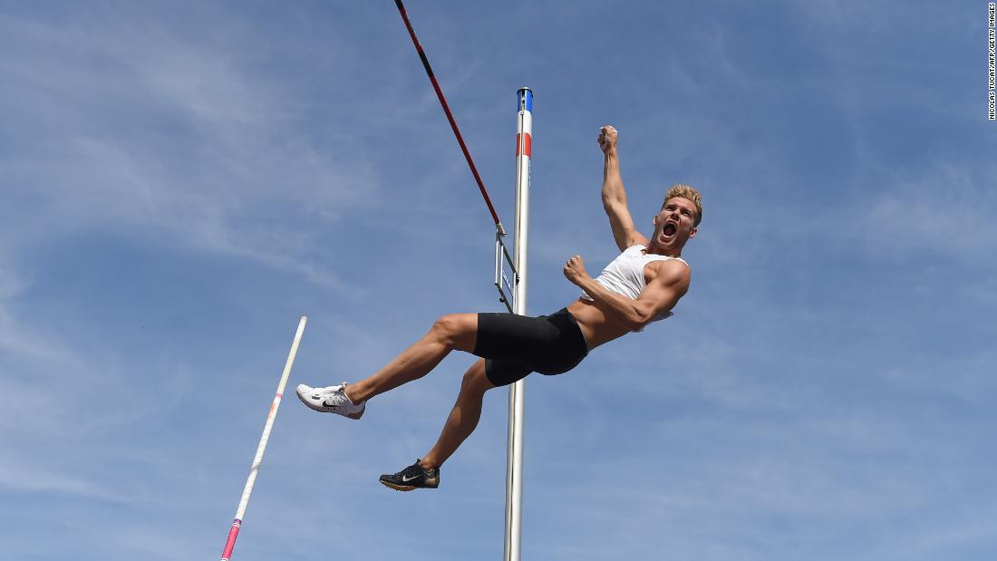 France's Kevin Mayer competes in the men's pole vault event during the IAAF Combined Events Challenge in Talence, France, on Sunday, September 16.