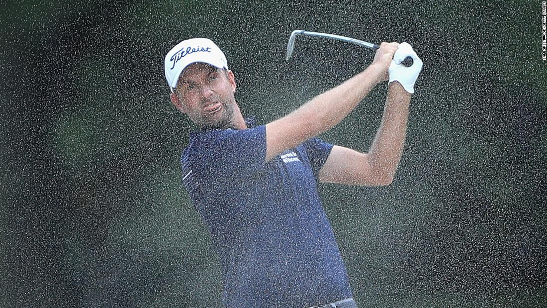 Webb Simpson of the United States plays a shot from a bunker on the seventh hole during the first round of the Tour Championship on Thursday, September 20, in Atlanta.