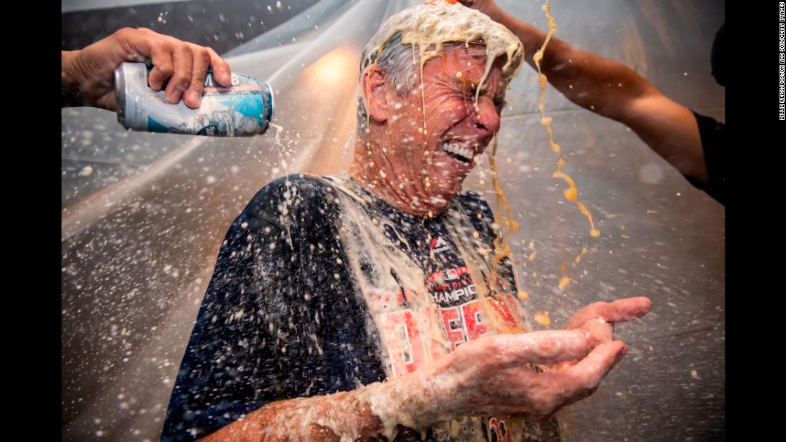 Dave Dombrowski, president of baseball operations for the Boston Red Sox, celebrates a victory against the New York Yankees on Thursday, September 20, in New York.