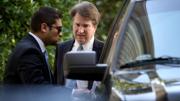 Supreme Court nominee Judge Brett Kavanaugh (R) leaves his home September 19, 2018 in Chevy Chase, Maryland. Kavanaugh is scheduled to appear again before the Senate Judiciary Committee next Monday following allegations that have endangered his appointment to the Supreme Court.  (Photo by Win McNamee/Getty Images)