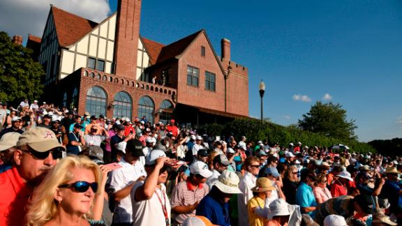 Fans watch the second round of the Tour Championship on Friday.