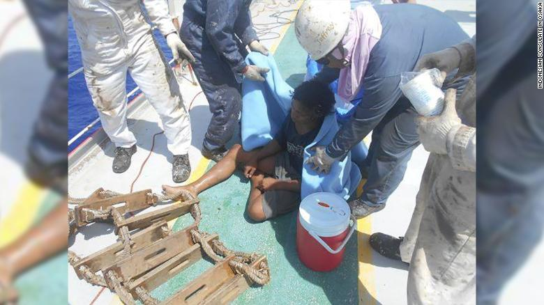 The young man was rescued by a Panamanian vessel on August 31 after 49 days at sea.