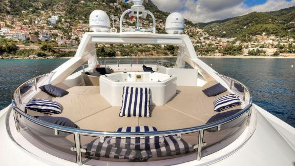 Sunseeker's The Devocean is also on sale at the Monaco Yacht Show for $8.1M. It features a sky deck jacuzzi and a large central wetbar.
