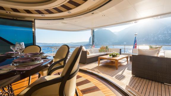 Custom built 190ft Larisa features open plan indoor/outdoor space and a bridge deck dining saloon with unobstructed panaromic views.