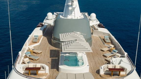 The yacht boasts a private owner's deck, master suite with terrace, cinema and private saloon.