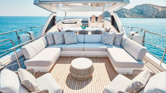 The interior of the 99ft boat has a modern look -- with soft furnishings and wenge gloss wood.