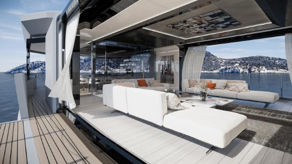 It features a convertible skylounge and minimalistic interior decor with sliding glass doors and fold-out balconies.