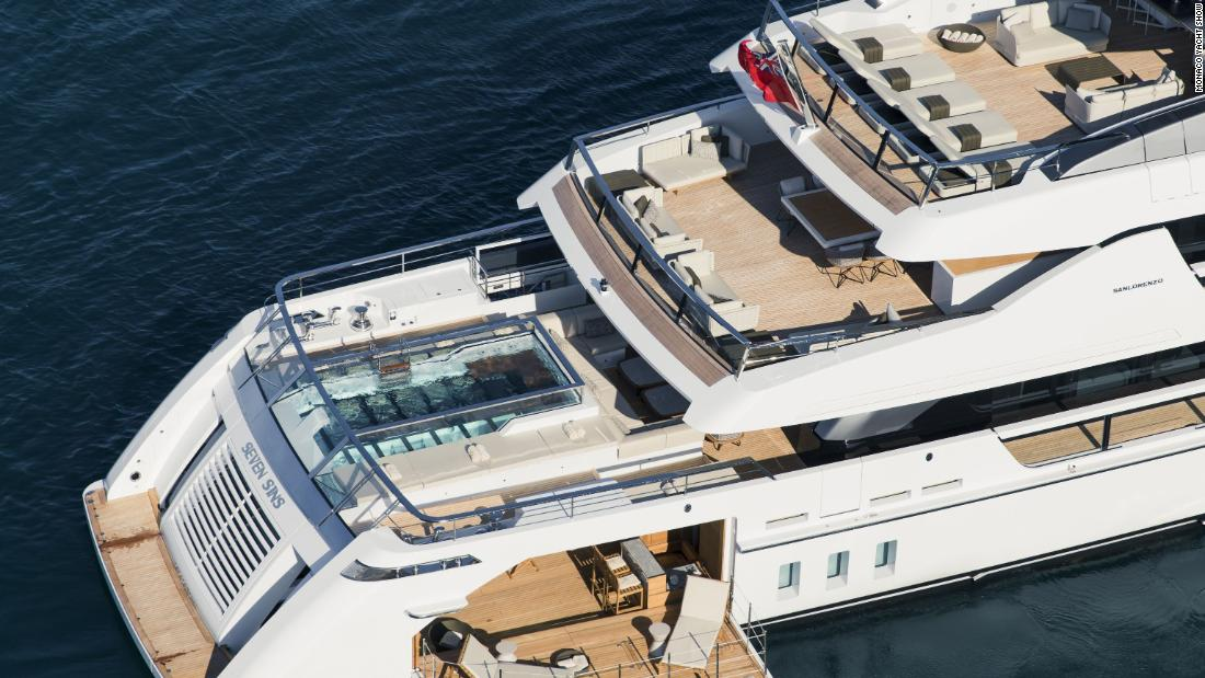 Sanlorenzo's 171ft superyacht Seven Sins which will be on show at the Monaco Yacht Show features a beach club and tender garage.