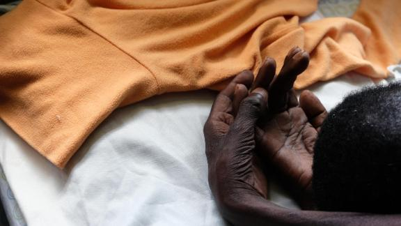 Julia,  a  woman  dying  of  oesophageal  cancer  in  Kimbilio  hospice,  western  Kenya.