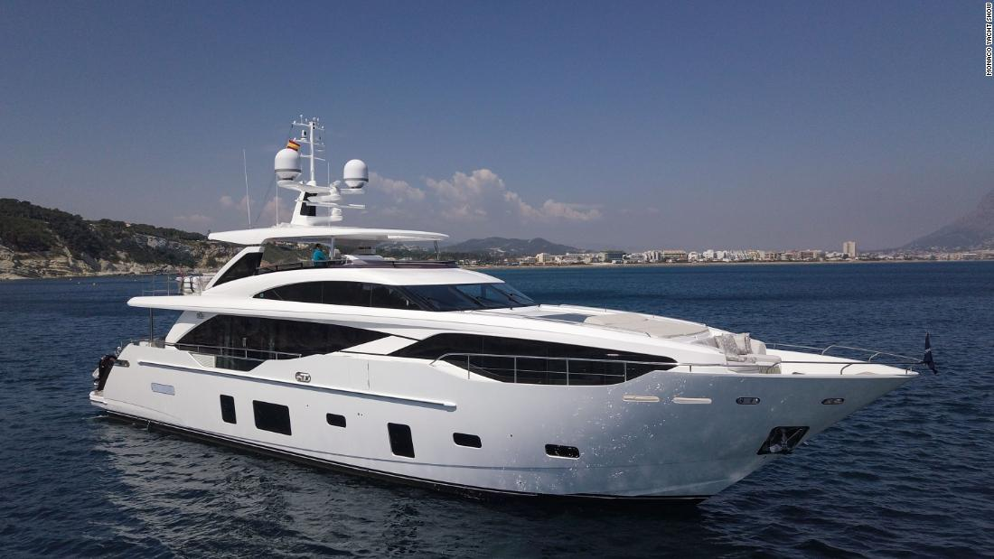 The boat by Princess Yachts can host up to eight guests and boasts an open sundeck aft.