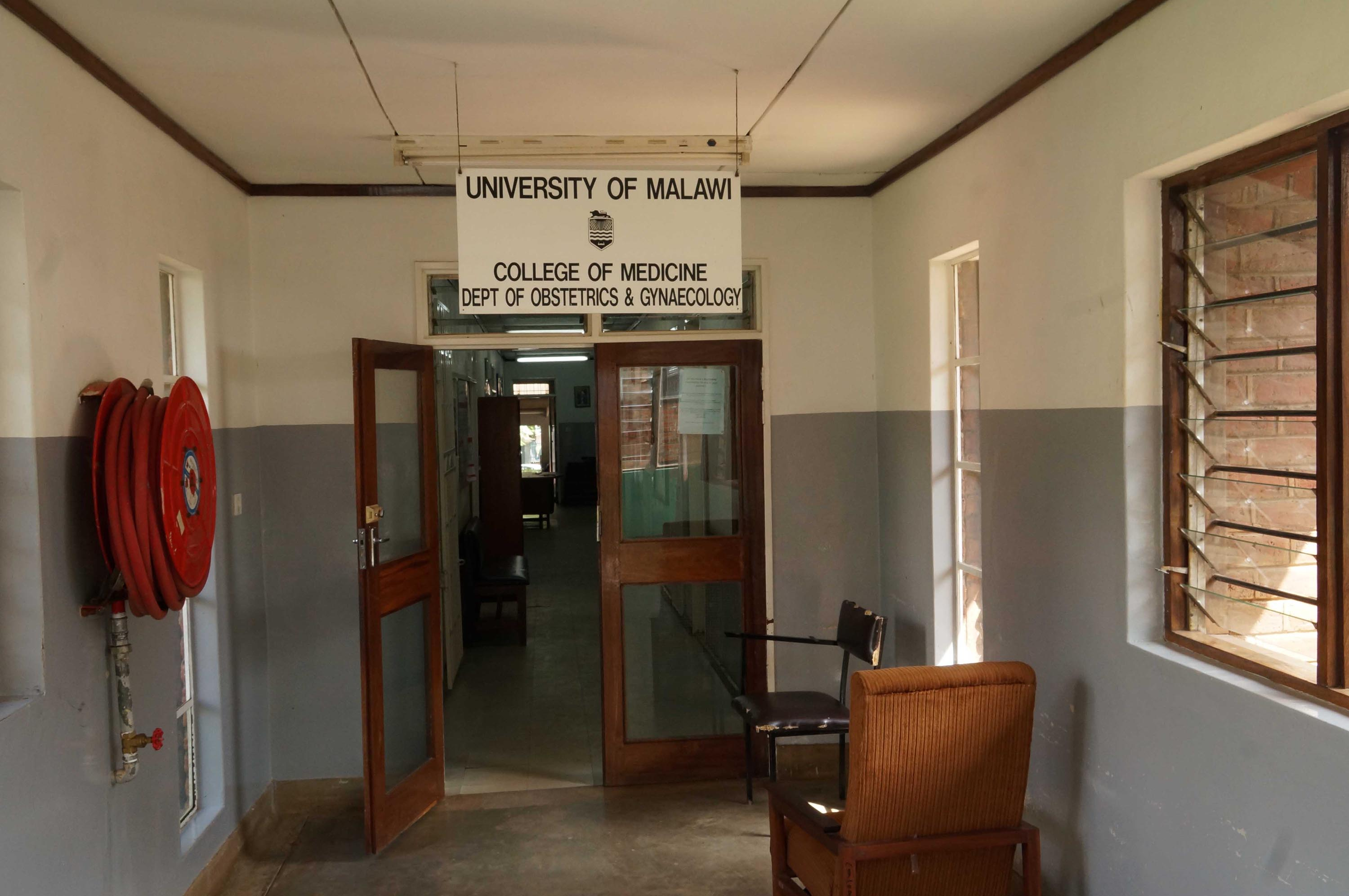 Entrance to maternity ward at Queen Elizabeth Central Hospital in Blantyre.