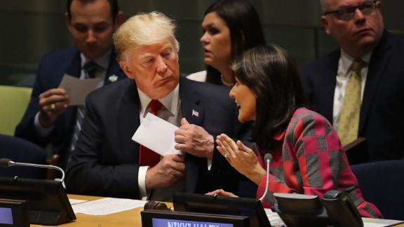 NEW YORK, NY - SEPTEMBER 24: President Donald Trump attends a meeting on the global drug problem at the United Nations (UN) with UN Ambassador Nikki Haley a day ahead of the official opening of the 73rd United Nations General Assembly on September 24, 2018 in New York City. The UN General Assembly, or UNGA, is expected to draw 84 heads of state and 44 heads of government in New York City for a week of speeches, talks and high level diplomacy concerning global issues. New York City is under tight security for the annual event with dozens of road closures and thousands of security officers patrolling city streets and waterways. (Photo by Spencer Platt/Getty Images)